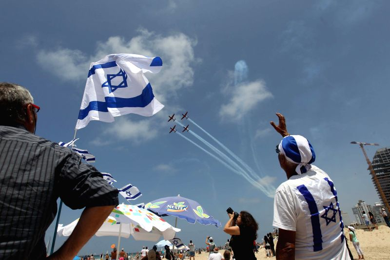 TEL AVIV, May 2, 2017 - Israeli air force airplanes perform during an air show celebrating the Independence Day in Tel Aviv, Israel, on May 2, 2017. Israel celebrated its Independence Day marking its ...