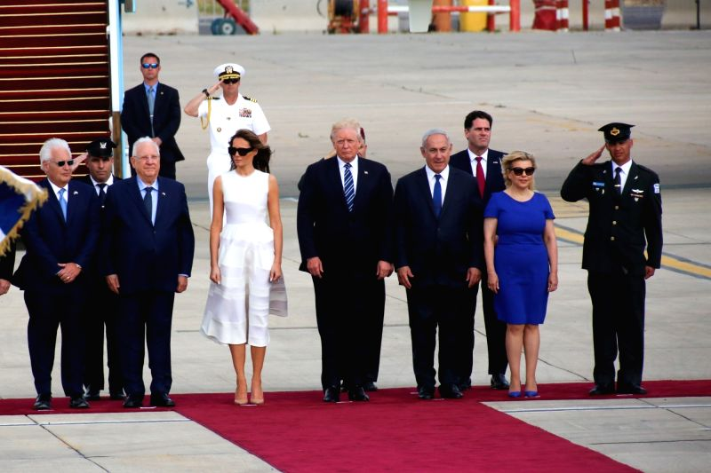TEL AVIV, May 23, 2017 - U.S. President Donald Trump (5th R) and First Lady Melania Trump (6th R) attend a ceremony with Israeli Prime Minister Benjamin Netanyahu (4th R) and his wife Sara Netanyahu ... - Benjamin Netanyahu