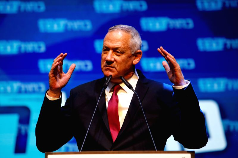 TEL AVIV, Sept. 18, 2019 (Xinhua) -- Blue and White party leader Benny Gantz gives a speech during a rally with supporters in Tel Aviv, Israel, Sept. 17, 2019. Israeli Prime Minister Benjamin Netanyahu's main challenger Benny Gantz said on Wednesday