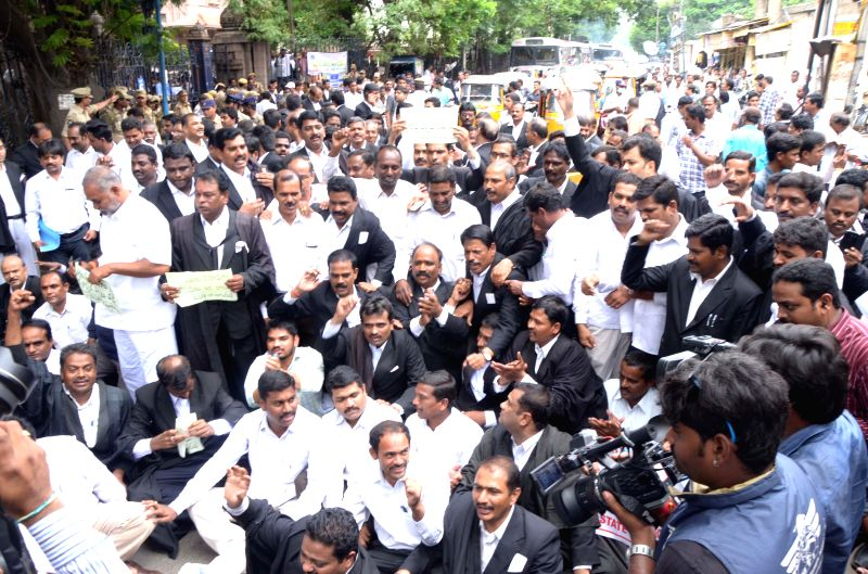 Telangana advocates demonstrate to press for creation of a separate High Court for the state in Hyderabad on July 31, 2014.