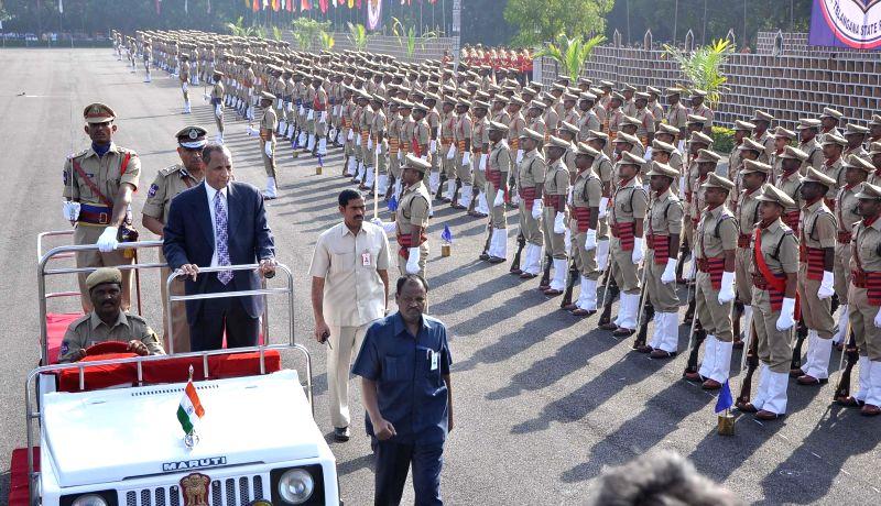 Telangana and Andhra Pradesh Governor ESL Narasimhan during passing out parade at Telangana State Police Academy in Hyderabad, on Nov 2, 2015.