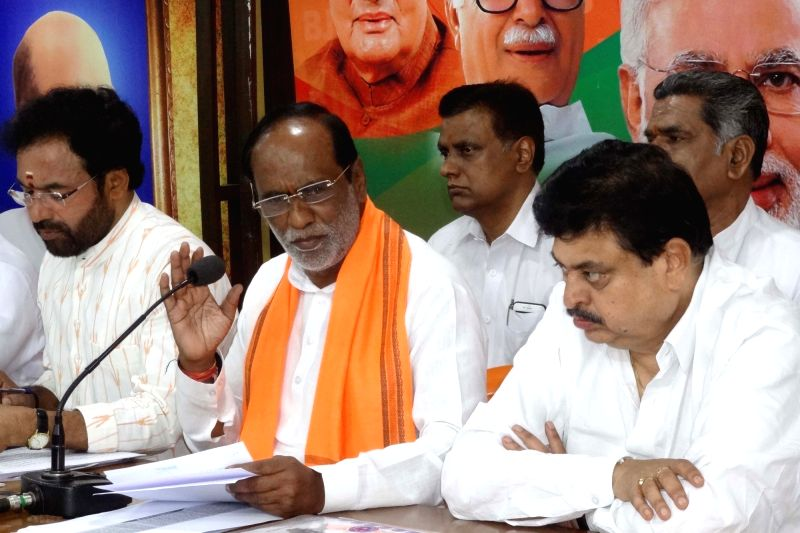 Telangana BJP chief Dr. K. Laxman addresses a press conference in Hyderabad, on May 25, 2017.