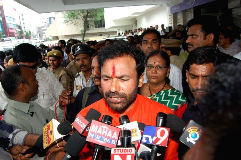 Telangana BJP Chief G Kishan Reddy addresses press after visiting the hospital where YSR Congress leader Shobha Nagireddy succumbed to the injuries sustained in a road accident en route to her native