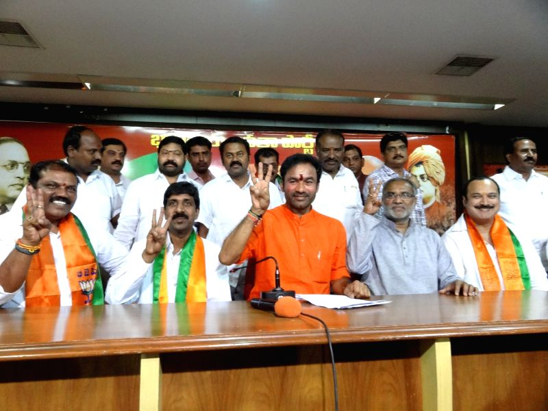 Telangana BJP Chief G Kishan Reddy addresses a press conference in Hyderabad on May 16, 2014.
