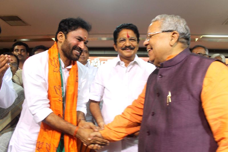 Telangana BJP chief G Kishan Reddy and Union MSME Minister Kalraj Mishra with Maharashtra Governor designate Chennamaneni Vidyasagar Rao during a programme organised to felicitate Rao for his new ... - Kalraj Mishra and G Kishan Reddy