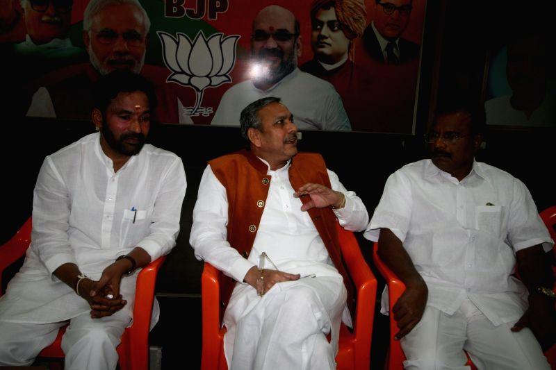 Telangana BJP chief G Kishan Reddy during a party meeting in Hyderabad on Dec 1, 2015. - G Kishan Reddy