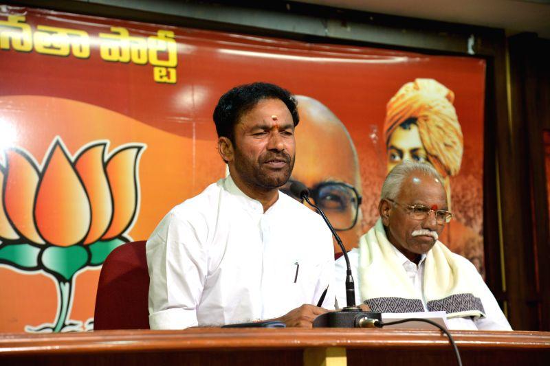 Telangana BJP Chief G Kishan Reddy during a press conference in Hyderabad on May 4, 2014. - G Kishan Reddy