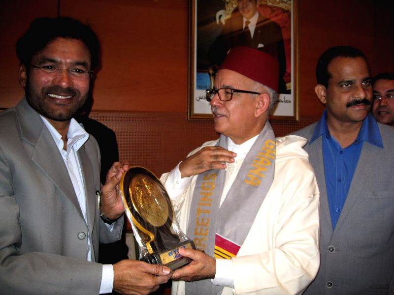 Telangana BJP president G Kishan Reddy with the president of the President of the Moroccan Senate Mohamed Cheikh Biadillah in Hyderabad, on Dec 28, 2014.