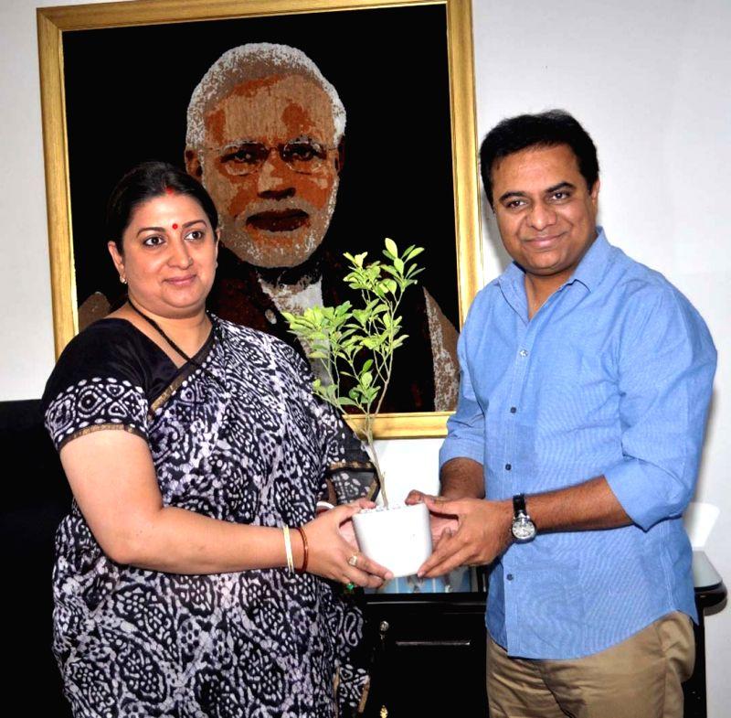 Telangana Cabinet Minister K.T. Rama Rao meets Union Textiles Minister Smriti Irani, in New Delhi, on July 17, 2018. - K., T. Rama Rao and Smriti Irani