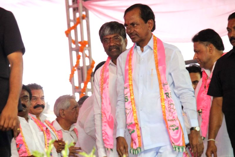 Telangana Chief Minister and Telangana Rashtra Samithi (TRS) chief K Chandrasekhar Rao at TRS plenary in Hyderabad, on April 24, 2015. - K Chandrasekhar Rao