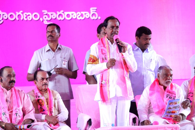 Telangana Chief Minister and TRS leader K Chandrasekhar Rao addresses during the annual plenary session of Telangana Rashtra Samithi (TRS) in Hyderabad, on April 21, 2017. - K Chandrasekhar Rao