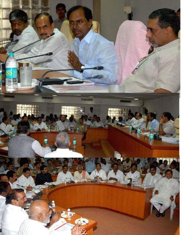 Telangana Chief Minister K.Chandrasekhar Rao reviewing preparations of Ramzan and Bonalu festival at Secretariat in Hyderabad on June 16, 2014.