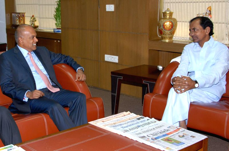 Telangana Chief Minister K Chandrasekhar Rao during a meeting with Singapore's Foreign and Law Minister K Shanmugam in Hyderabad on July 2, 2014. - K Chandrasekhar Rao
