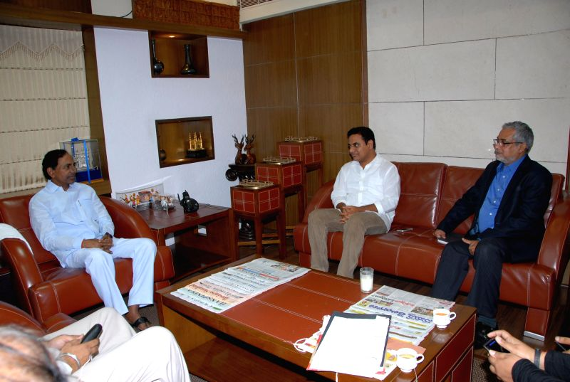 Telangana Chief Minister K Chandrasekhar Rao during a meeting with Microsoft India Chief Bhasker Pramanik in Hyderabad on July 14, 2014. - K Chandrasekhar Rao