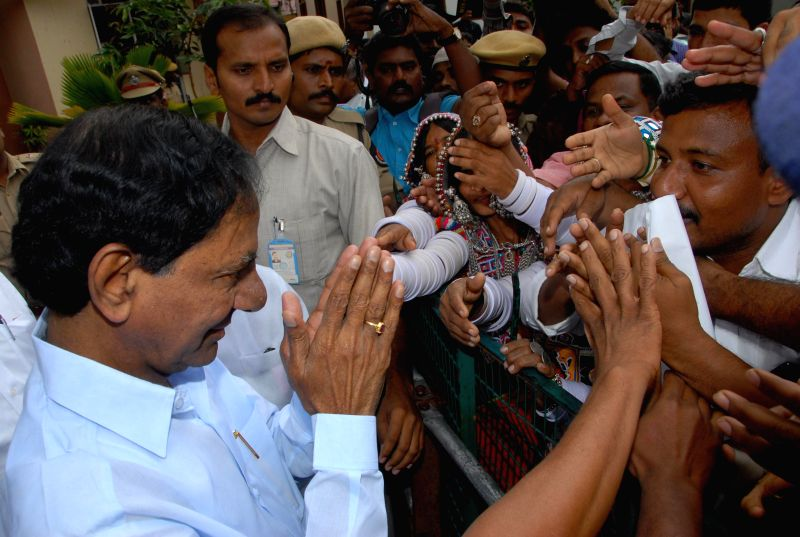 Telangana Chief Minister K Chandrasekhar Rao interacts with people in Hyderabad on July 17, 2014. - K Chandrasekhar Rao