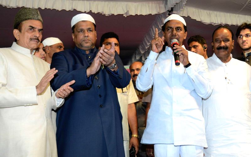 Telangana Chief Minister K Chandrasekhar Rao during an Iftar party at Exhibition Ground in Hyderabad on July 18, 2014. - K Chandrasekhar Rao