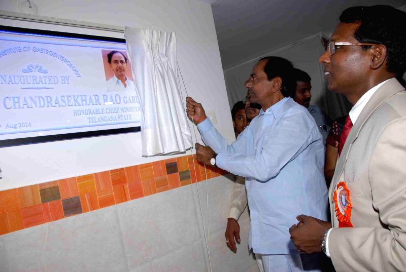 Telangana Chief Minister K Chandrasekhar Rao during inauguration of Cygnus Institute of Gastroenterology in Hyderabad on Aug 3, 2014. - K Chandrasekhar Rao