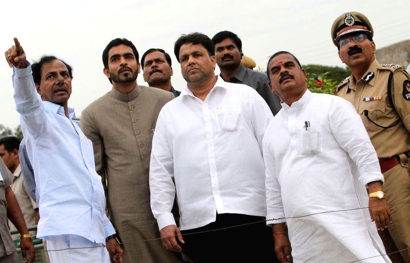 Telangana Chief Minister K Chandrasekhar Rao inspects Golkonda Fort ahead of Independence Day in Hyderabad on Aug 4, 2014. - K Chandrasekhar Rao