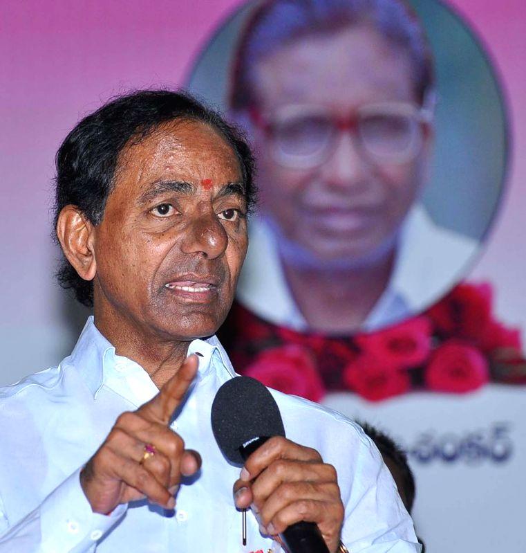 Telangana Chief Minister K Chandrasekhar Rao addresses during a programme organised to rechristen Acharya N G Ranga Agricultural University as Professor Jayashankar Telangana State Agricultural ... - K Chandrasekhar Rao