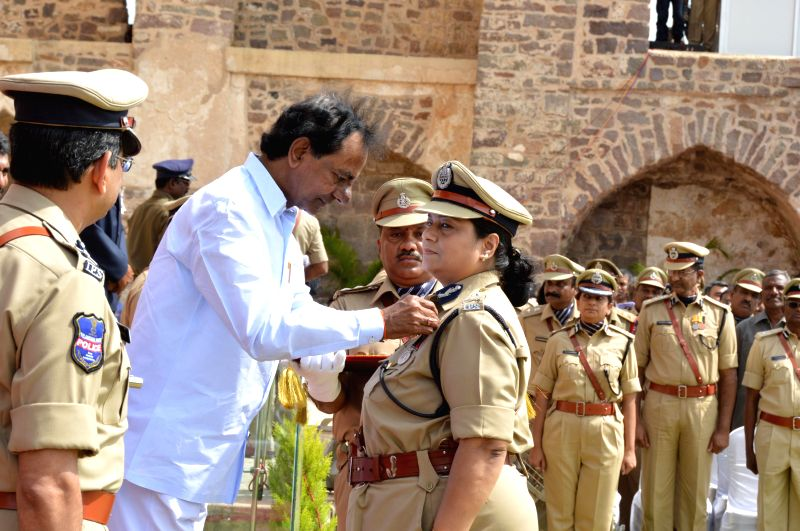 Telangana Chief Minister K Chandrasekhar Rao during 68th Independence Day celebrations at Golkonda Fort, some 11 km away from Hyderabad on Aug 15, 2014. - K Chandrasekhar Rao