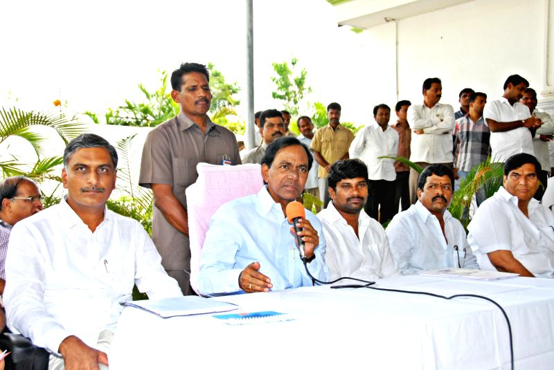 Telangana Chief Minister K Chandrasekhar Rao addresses a press conference in Hyderabad on Aug 17, 2014. - K Chandrasekhar Rao