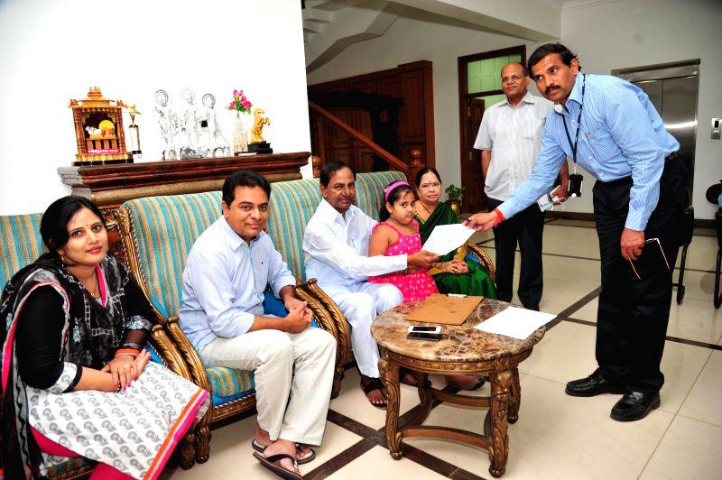 Telangana Chief Minister K Chandrasekhar Rao participates in Intensive Household Survey-2014, (Samagra Kutumba Survey) at Camp Office in Hyderabad on Aug 19, 2014. - K Chandrasekhar Rao