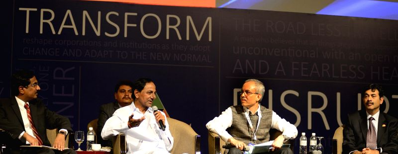Telangana Chief Minister K Chandrasekhar Rao during a Global IIM Alumni conference - IIMPACT 2014 in Singapore on Aug 22, 2014. - K Chandrasekhar Rao