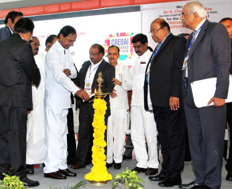 Telangana Chief Minister K Chandrasekhar Rao during a property show at HITEC City, Hyderabad on Aug 29, 2014. - K Chandrasekhar Rao