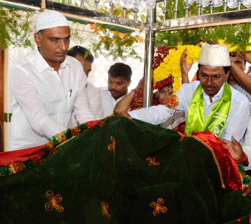 Telangana Chief Minister K Chandrasekhar Rao offered a `Chaadar` at Dargah of Medak District in Hyderabad on July 11, 2015.