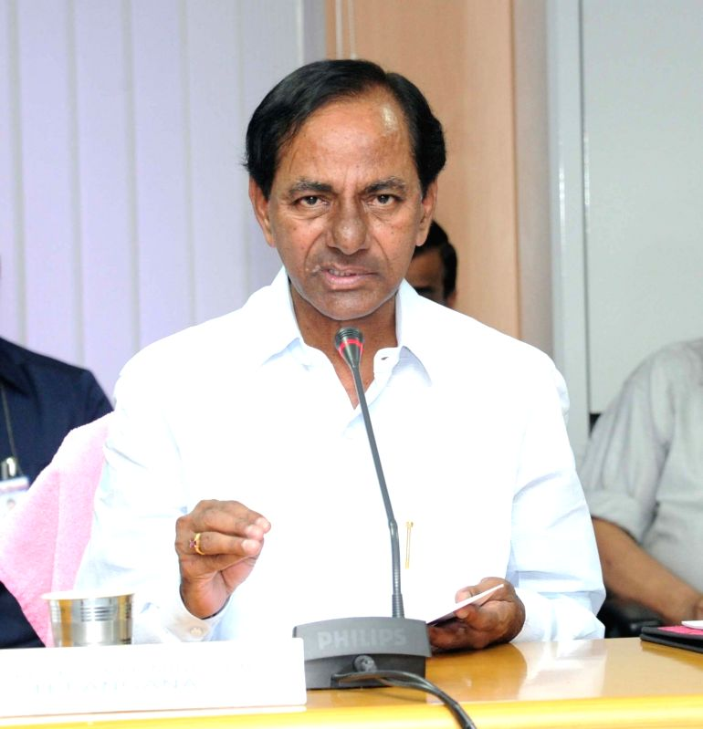 Telangana Chief Minister K Chandrasekhar Rao during a meeting with officials in Hyderabad on May 23, 2016. - K Chandrasekhar Rao