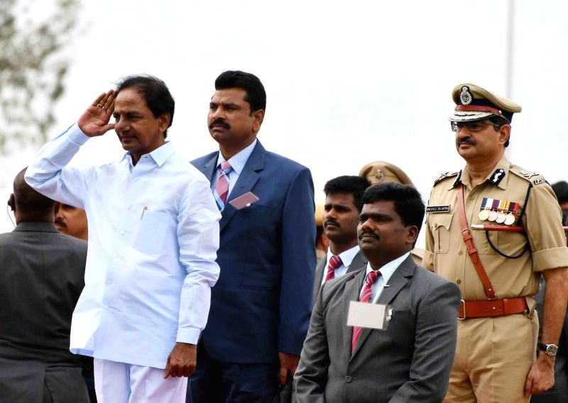 Telangana Chief Minister K Chandrasekhar Rao during a programme organised to celebrate Telangana formation day in Hyderabad, on June 1, 2016. - K Chandrasekhar Rao