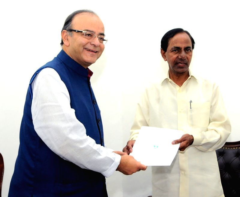 Telangana Chief Minister K Chandrasekhar Rao calls on the Union Minister for Finance and Corporate Affairs Arun Jaitley, in New Delhi on July 18, 2016. - K Chandrasekhar Rao and Affairs Arun Jaitley