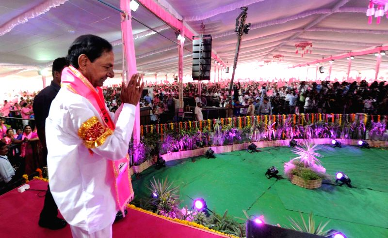 Telangana Chief Minister K Chandrasekhar Rao during Telangana Rashtra Samithi's (TRS) annual plenary at Kompally in Hyderabad on April 21, 2017. - K Chandrasekhar Rao