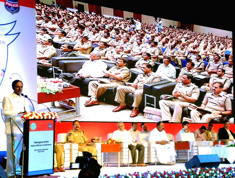 Telangana Chief Minister K Chandrasekhar Rao addresses during a Telangana Police Officers' conference in Hyderabad, on May 19, 2017. - K Chandrasekhar Rao