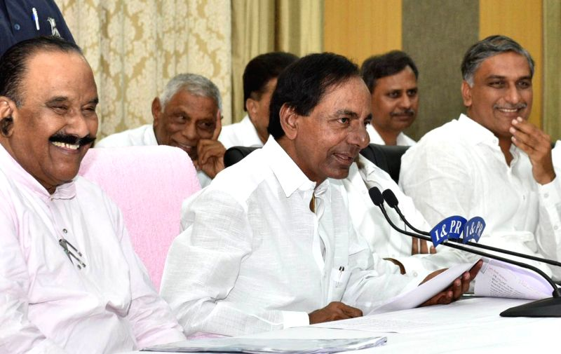 Telangana Chief Minister K Chandrasekhar Rao addresses a press conference in Hyderabad on May 24, 2017. - K Chandrasekhar Rao