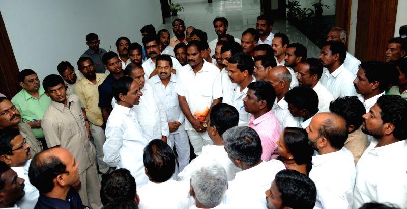 Telangana Chief Minister K Chandrasekhar Rao meets farmers in Narsapur of Medak district on June 6, 2017. - K Chandrasekhar Rao