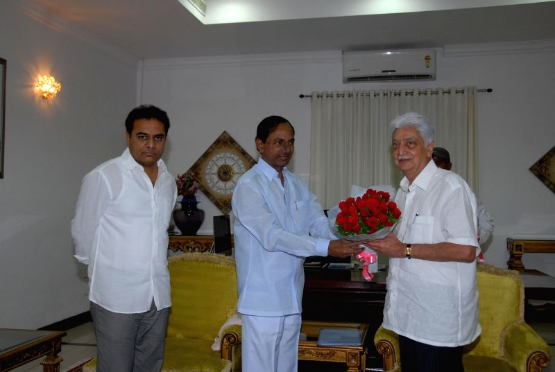 Telangana Chief Minister K Chandrasekhar Rao and Wipro Chairman Azim Premji during a meeting in Hyderabad on July 27, 2014. - K Chandrasekhar Rao