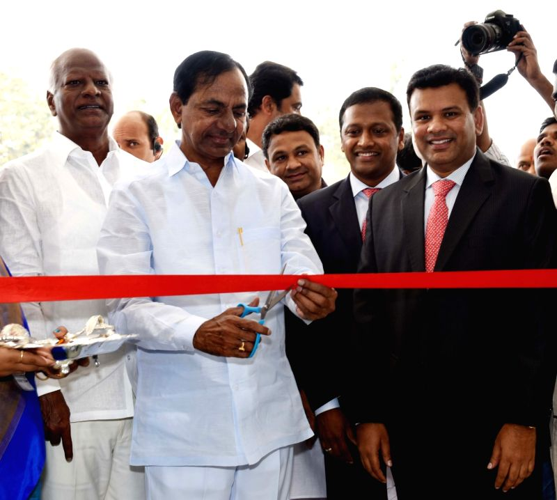 Telangana Chief Minister K Chandrasekhar Rao at the inauguration of a School at Kokapeta in Ranga Reddy District, Telangana on Nov. 26, 2015. - K Chandrasekhar Rao and Ranga Reddy District