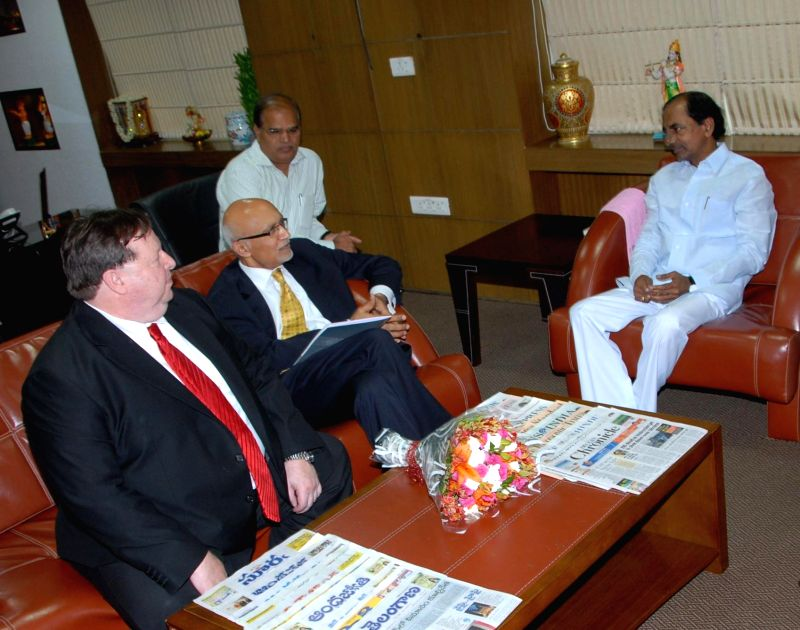 Telangana Chief Minister K Chandrasekhar Rao with US diplomats during a meeting in Hyderabad on July 18, 2014. - K Chandrasekhar Rao