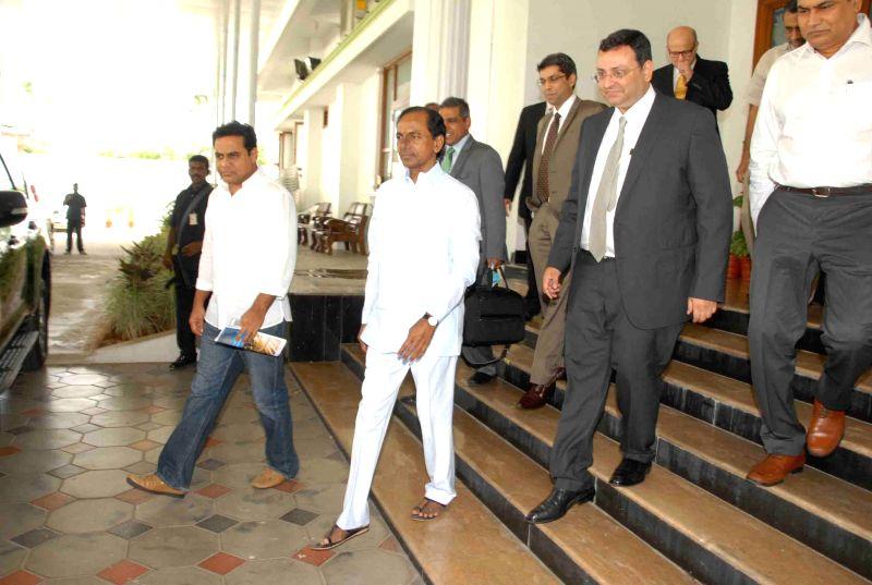 Telangana Chief Minister K Chandrasekhar Rao with Tata Sons Chairman, Cyrus P Mistry in Hyderabad on Aug 6, 2014. - K Chandrasekhar Rao