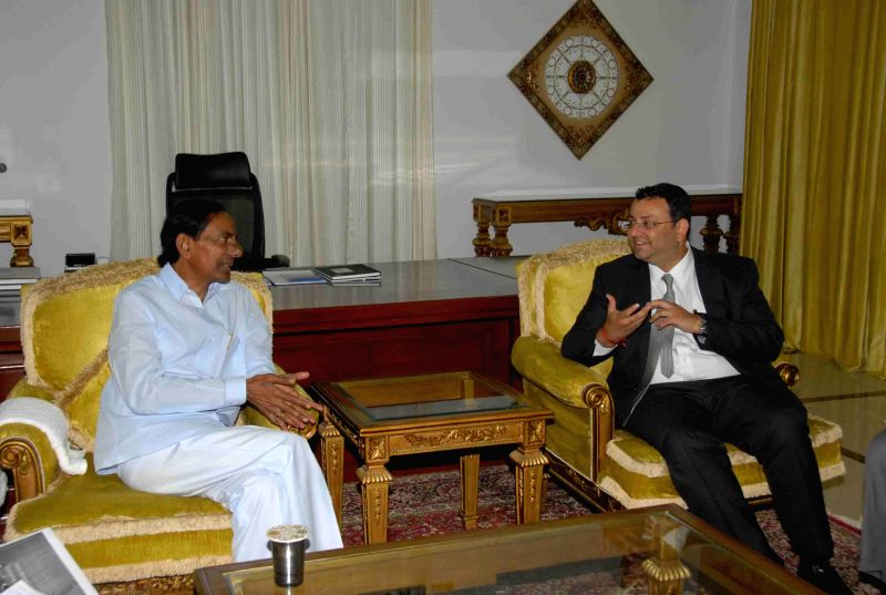 Telangana Chief Minister K Chandrasekhar Rao with Tata Sons Chairman, Cyrus P Mistry  during a meeting in Hyderabad on Aug 6, 2014. - K Chandrasekhar Rao