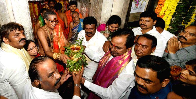 Telangana Chief Minister K Chandrashekar Rao participates in Bonalu festival celebrations, in Secunderabad, on July 29, 2018. - K Chandrashekar Rao