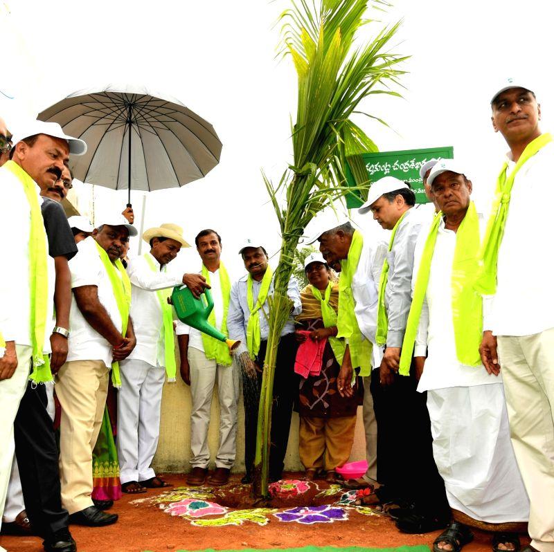 "Telangana Chief Minister K. Chandrashekar Rao waters a sapling during launch of the fourth phase of the plantation drive - ""Telangana Ku Haritha Haram"" (TKHH), in Gajwel of ... - K. Chandrashekar Rao"