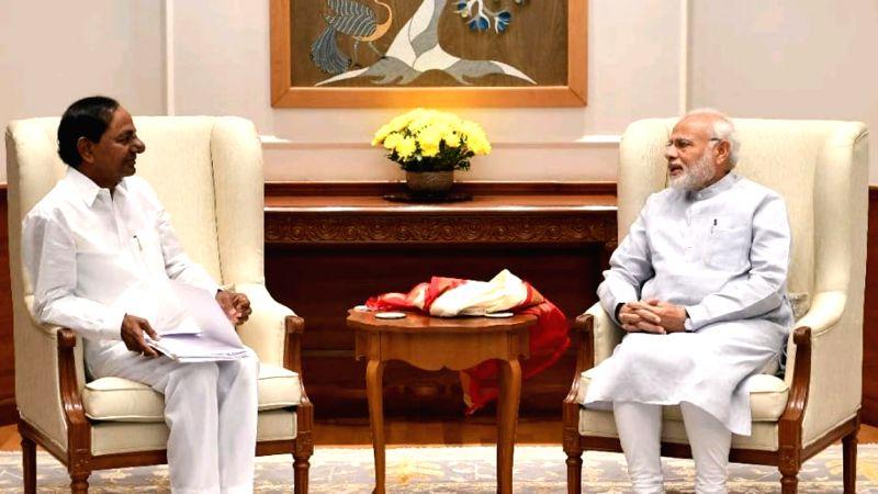 Telangana Chief Minister K. Chandrashekar Rao calls on Prime Minister Narender Modi in New Delhi on Aug 4, 2018. - K. Chandrashekar Rao and Narender Modi