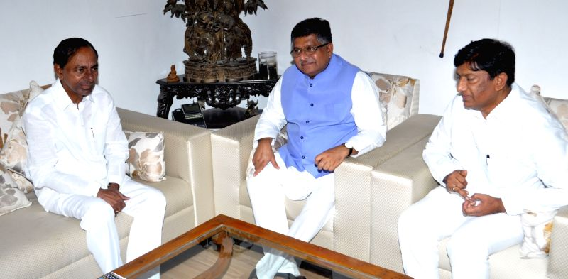 Telangana Chief Minister K. Chandrashekhar Rao calls on Union Law and Justice and Electronics and Information Technology Minister Ravi Shankar Prasad in New Delhi on Aug 3, 2018. - K. Chandrashekha