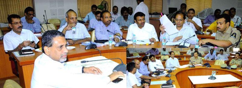Telangana Chief Secretary Rajiv Sharma during a meeting regarding law and order measure during Ramadan and Bonalu festival in Hyderabad on July 2, 2014.