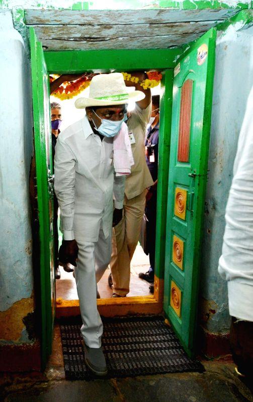 Telangana CM K. Chandrashekar Rao visits adopted village, interacts with Dalits.