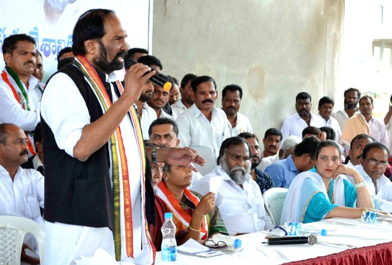 Telangana Congress chief N Uttam Kumar Reddy addresses during a programme in Sangareddi of Telangana on May 25, 2017.