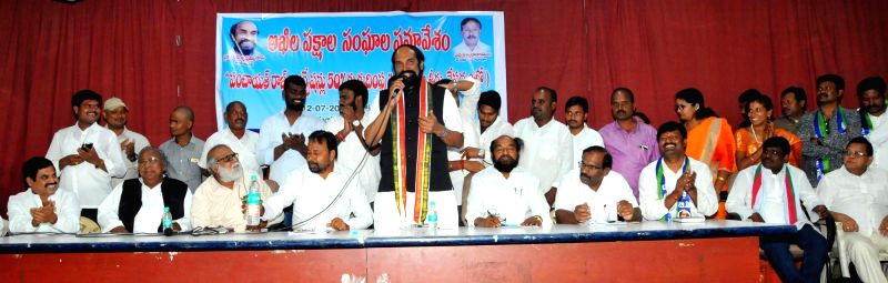 Telangana Congress chief N. Uttam Kumar Reddy during a meeting of Telangana State BC Sankshema Sangam, in Hyderabad on July 12, 2018.