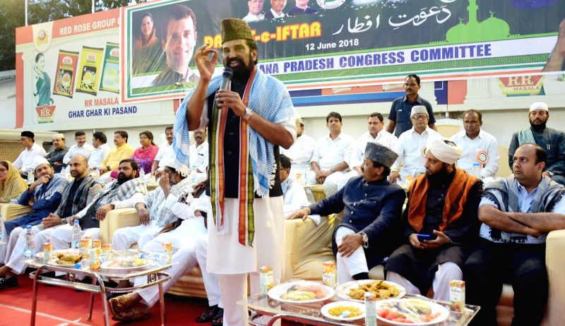 Telangana Congress President N. Uttam Kumar Reddy during an iftaar party hosted by him in Hyderabad on June 12, 2018.